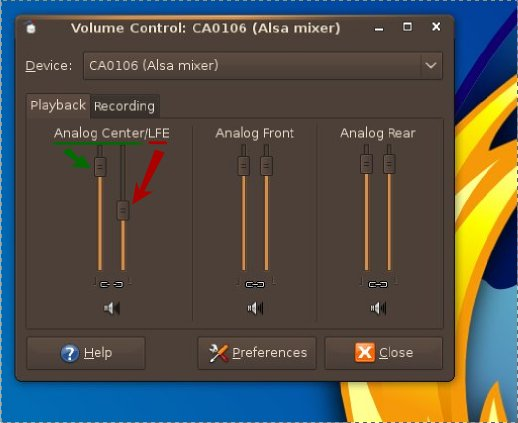 Volume control settings for Centre and LFE.